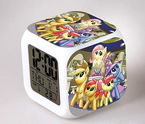 N/J Birthday Presents for The Children's Bedroom My Little Pony Night Light LED 7 Color Flash Changing Digital Alarm Clocks Bedroom Wake Up Clock Rainbow Dash,Violet