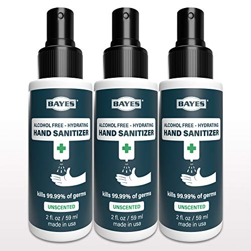 Bayes Moisturizing, Hydrating Hand Sanitizer Spray, Alcohol-Free - NSF E3 Approved for Food Handlers, Made in USA - 2 oz, 3 Pack, (Packaging May Very)