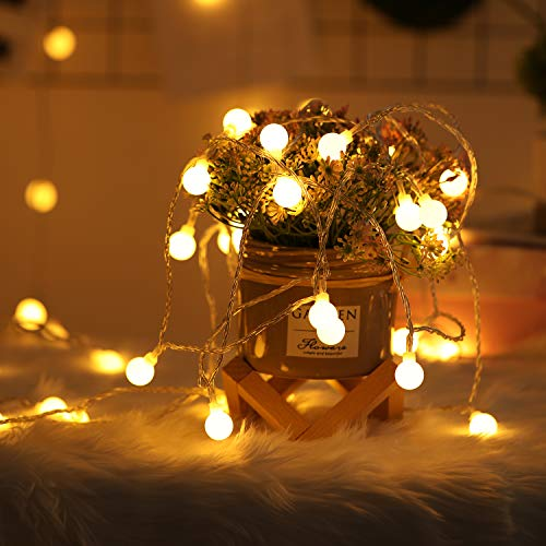 2 x 100 LED Globe String Lights Battery Operated Waterproof, 2 x 49 Ft Fairy String Light 8 Modes Dimmable with Remote Control for Indoor, Outdoor, Bedroom, Party, Wedding, Christmas (Warm White)