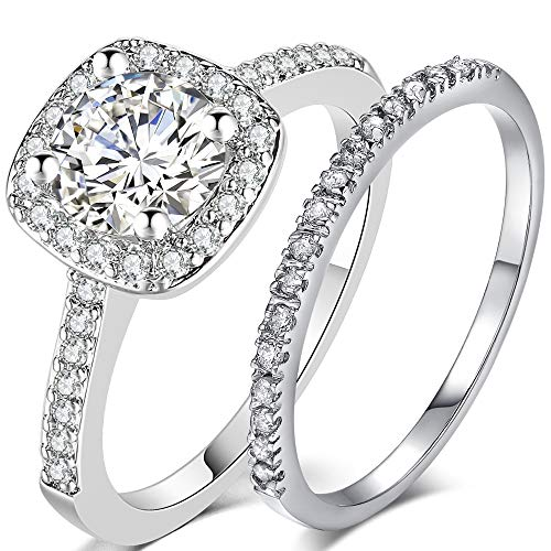 Silver Rose Gold 2 Carat Wedding Engagement Eternity Bridal Ring Set (Silver, 7)