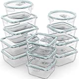 Razab 24 Pc Glass Food Storage Containers Airtight Lids Microwave/Oven/Freezer & Dishwasher Safe - Steam Release Valve BPA/ PVC-Free -Small & Large Reusable Round, Square & Rectangle Bento Containers