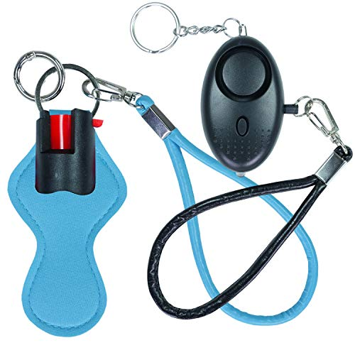 Pepper Spray Keychain Personal Alarm for Women - Maximum Police Strength OC Spray 10 ft Range with Safety Flip - 140DB Hear Up to 600ft Away - with Quick Release Ring (Blue Black)