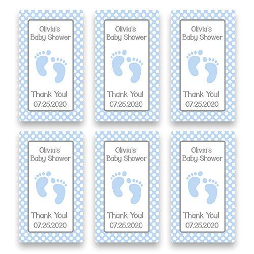Personalized Blue Feet Baby Shower Favor Sticker for 2 Ounce Bottles | Set of 20 Customized Baby Boy Shower Favor Labels | Party Favor Stickers for Plastic Bottles (RSL103)