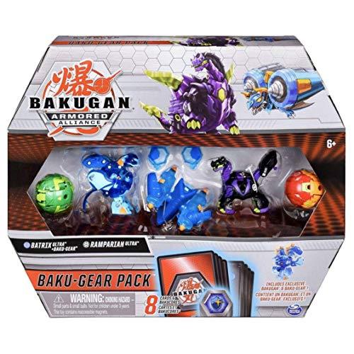 Bakugan Baku-Gear 4-Pack, Batrix Ultra with Baku-Gear and Ramparian Ultra, Collectible Action Figures