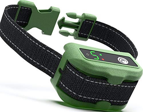 UPGRADED Q6 Rechargeable Bark Collar - Smart Barking Detection Module w/Triple Stop Anti-False Modes: Beep/Vibration/Shock for Small, Medium, Large Dogs & Breeds - IPx7 Waterproof (15-120 LBS) (Green)