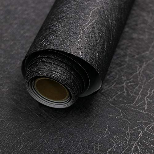 15.7' X 118' Black Silk Wallpaper Embossed Self Adhesive Peel and Stick Wallpaper Removable Kitchen Wallpaper Vinyl Black Wallpaper Cabinet Furniture Countertop Shelf Paper Textured Wallpaper