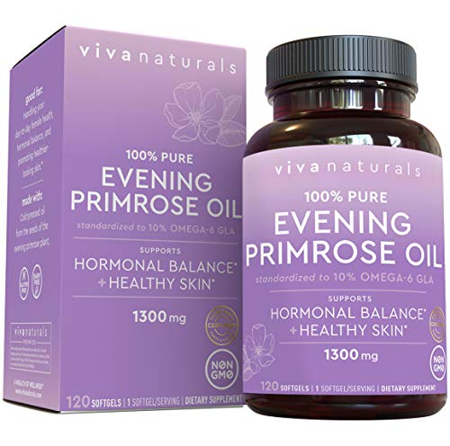 Evening Primrose Oil Capsules with GLA (1300 mg), 120 Softgels, Helps Support Hormone Balance for Women, Cold-Pressed, Gluten-Free & Non-GMO