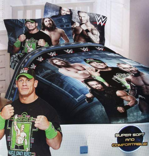 WWE Industrial Strength Full Comforter & Sheet Set (5 Piece Bed in A Bag) + WWE Toothbrush!