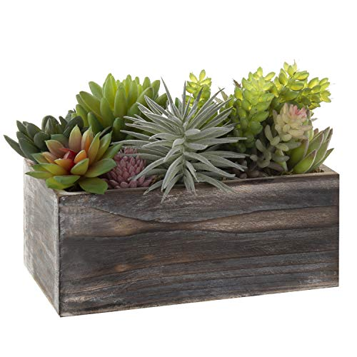 MyGift Assorted Artificial Succulents in Rustic Brown Wood Planter Box