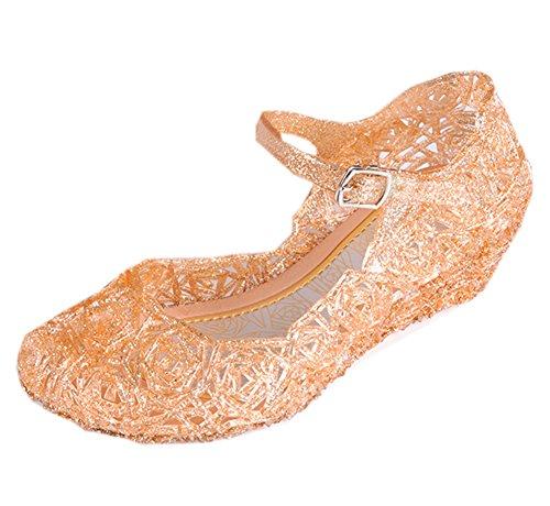 Cinderella Baby Girls Soft Crystal Plastic Shoes Children's Princess Shoes(Toddler/Little Kid) Gold