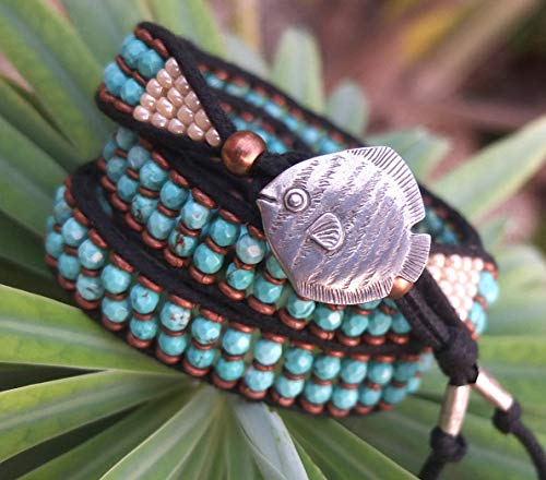 Turquoise Gemstone Tri Wrap Bracelet and Headband with Vintage Fish Button