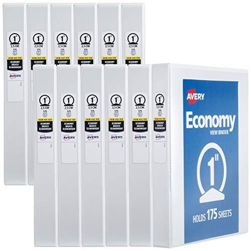 AVERY 1' Economy View 3 Ring Binder, Round Ring, Holds 8.5' x 11' Paper, 12 White Binders (5711)