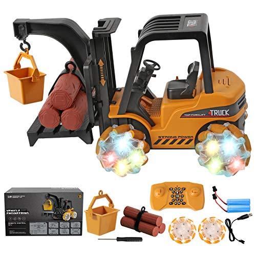 Remote Control Car, 1:18 Scale Programming RC Trucks Forklift Toy with Music and Light, 2.4GHz 21 Channel Electric Construction Vehicle Toys with Rechargeable Battery, Kids Boys Girls Gift
