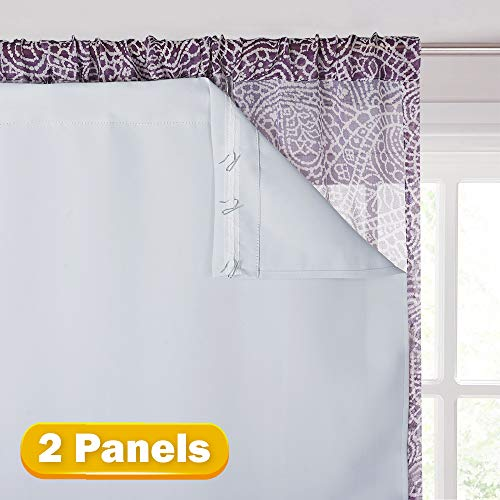 KGORGE Thermal Insulated Blackout Liner - Black Out Curtain Liners for 84 inches Drapes, Light/Heat/Sun Blocking Liner Curtains (2 Panels, 27' Width X 80' Length, Grayish White, Bonus Hooks