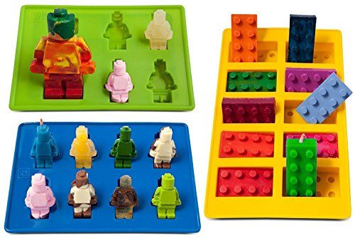 Youdepot Yellow Building Brick Blue Green Multi-size Minifigure Silicone Ice Tray Candy Mold Set (Blue/Green/Yellow)