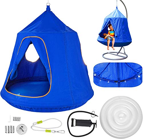 Atemou Hanging Tree Tent Blue Hanging Tree Tent for Kids 46 H x 43.4 Diam Hanging Tree House Tent Waterproof Portable Indoor or Outdoor Use with Led Decoration Lights