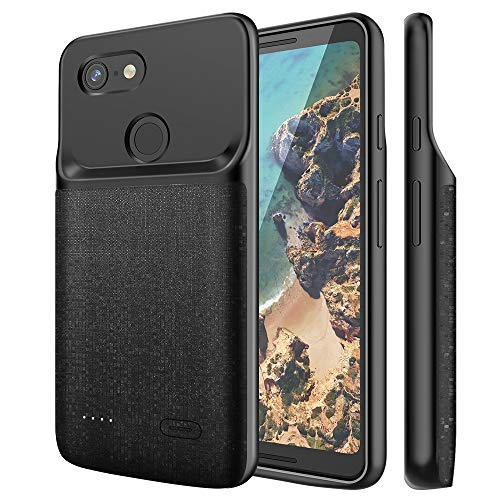 NEWDERY Google Pixel 3 XL Battery Case, 4700mAh Slim Extended Charging Case with TPU Raised Bezels, Rechargeable Charger Case Cover Compatible Google Pixel 3 XL