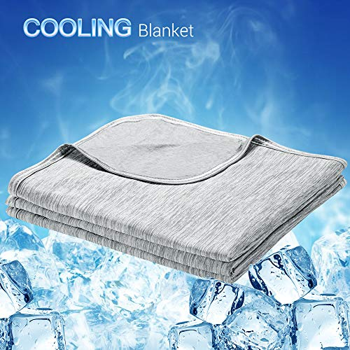 LUXEAR Cooling Blanket, Revolutionary Cool-to-Touch Technology Q-MAX0.4 Summer blanket, 78 X 86 in Double Side Design Cool Blanket, Breathable Comfortable Bed Blanket for Adults, Children, Baby- Gray