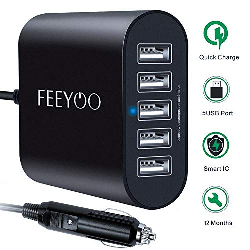 USB Car Charger 45W 5-Ports Fast USB Car Charger [12V/24V] Multiple USB Car Charger with Smart Identification for iPhone 11/Xs/XR/X/8/7/6, iPad Pro/Air/Mini, Kindle Tablet and More, Black