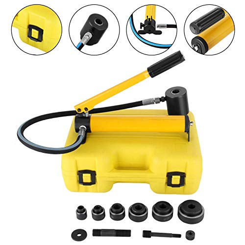 Mophorn 10 Ton 1/2' to 2' Hydraulic Knockout Punch Driver Tool Kit Electrical Conduit Hole Cutter Set KO Tool Kit with 6 Dies Hole Complete Tool (Knockout Punches)