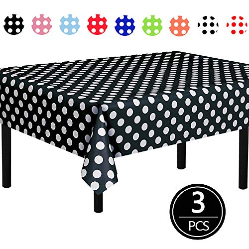 TONIFUL 3 Pack Black Polka Dot Plastic Tablecloth 54'x108' Inch Polka Dot Table Cover for Party Decorations