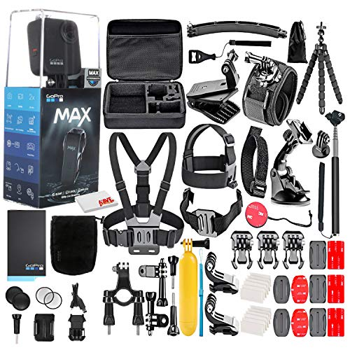 GoPro MAX 360 Waterproof Action Camera -with 50 Piece Accessory Kit - Camera W/Touch Screen - Spherical 5.6K30 HD Video - 16.6MP 360 Photos - 1080p Live Streaming Stabilization - All You Need