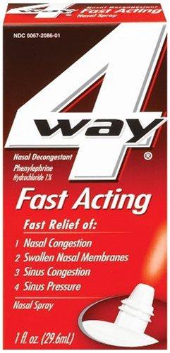 4 Way Nasal Decongestant Nasal Spray, Fast Acting, 1 Fl Oz (Pack of 3)