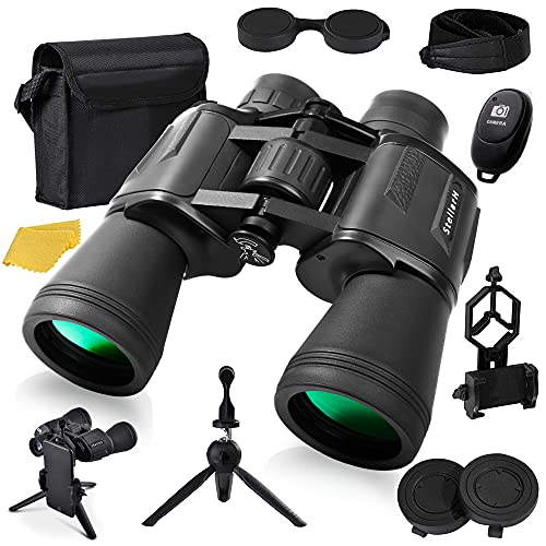 12x50 HD Full Size Binoculars for Adults with Photography Kit - Smartphone Adapter Universal Tripod Carrying Bag & Strap for Bird Watching Hunting Stargazing Sporting & Sightseeing