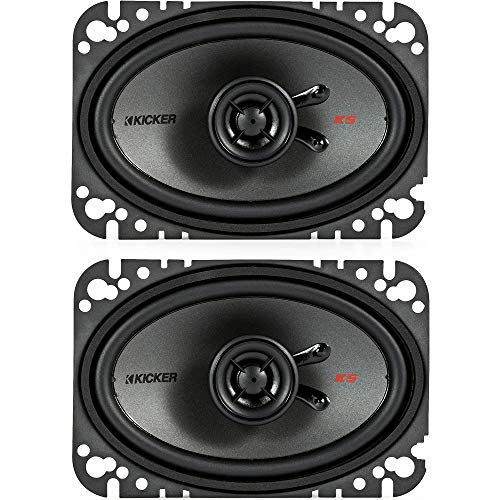 KICKER 47KSC4604 KS Series Low Profile 4x6 Inch 4 Ohm 15 to 75 Watts RMS Power Factory Replacement Coaxial Car Audio Sound System Speakers (Pair)