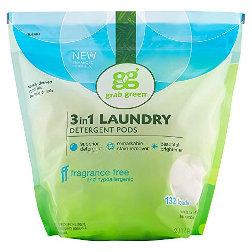 Grab Green Natural 3 in 1 Laundry Detergent Pods, Fragrance Free, Free & Clear/Unscented, 132 Loads, Organic Enzyme-Powered, Plant & Mineral-Based, 74.5 Ounce