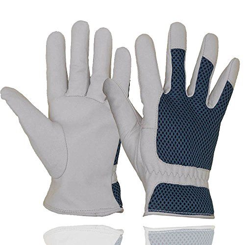 Goatskin Leather Gardening Gloves Women, 3D Mesh Comfort Fit- Improves Dexterity and Breathability Design, Scratch Resistance Garden Working Gloves for Vegetable or Pruning Roses (Small/Medium)
