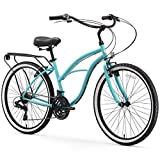 sixthreezero Around The Block Women's 21-Speed Beach Cruiser Bicycle, 26' Wheels, Teal Blue with Black Seat and Grips