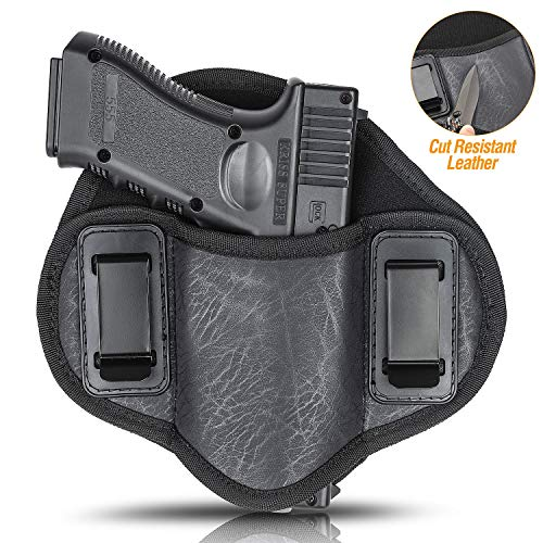Concealed Carry Holster Ultra Soft Comfortable ECO Leather IWB Inside Waistband Holster for Glock 19 23 32 26 27 33 30, S&W M&P Shield 9mm, Sig, Sprinfield, Taurus, Beretta Ruger, H&K, XDM (Left)