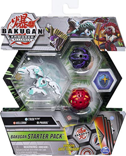 Bakugan Starter Pack 3-Pack, Trox Ultra, Armored Alliance Collectible Action Figures