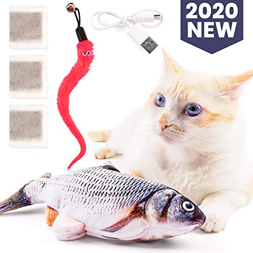 Floppy Fish Cat Toy Pack - Electric Dancing Fish Kicker Interactive Flopping Moving Fish Toy with Rechargeable UN38.3 Certified Battery USB Charger 3 Catnip Bags 1 Pink Worm Toy with Bell for Cats Pet