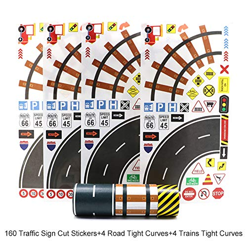 Manzawa Road Tape for Toy Car & Trains,3 Tape Rolls, Bonus 160TrafficSignDie CutStickers, 4RoadTightCurves and 4TrainsTightCurves, Develop Your Kids Imagination and Memory, Play and Learn