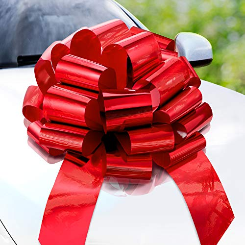 Zoe Deco Big Car Bow (Red, 23 inch) Round Shape Gift Bows, Giant Bow for Car, Birthday Bow, Huge Car Bow, Car Bows, Big Red Bow, Bow for Gifts, Christmas Bows for Cars, Gift Wrapping