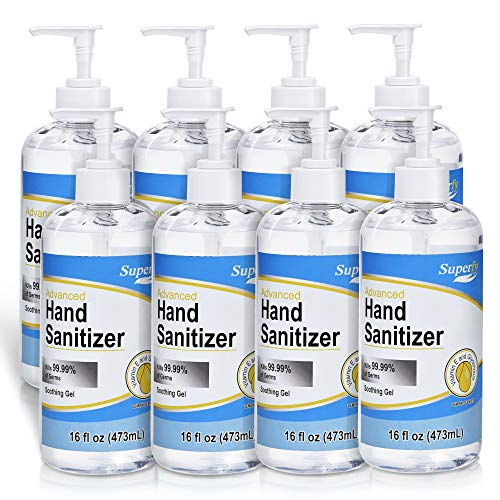 Superfy Hand Sanitizer Gel with Pump, 8 Pack of 16 oz, Press Hand Washer with 70% Alcohol Quick-drying (128oz total)
