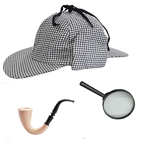Sherlock Holmes Houndstooth Detective Hat with Costume Pipe & Magnifier Glass