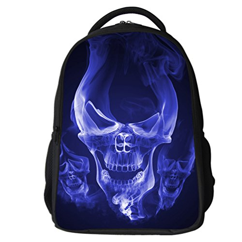 Datomarry Cool Skull Backpack 16 Inch Breathable Mesh Lightweight School Backpack for Kids