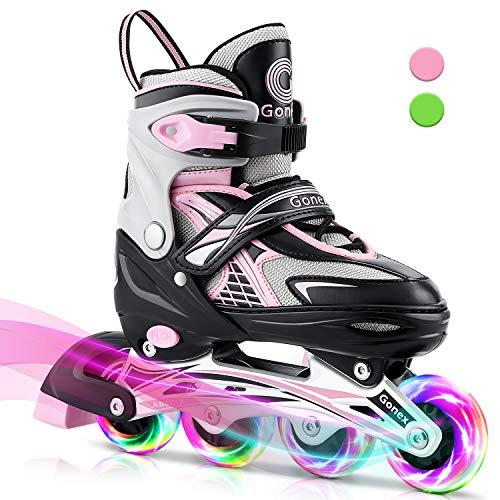 Gonex Inline Skates for Girls Boys Kids, Adjustable Skates Outdoor Blades Inline Roller Skates for Teens Women with Light Up Wheels for Indoor Outdoor Backyard Skating, Pink S