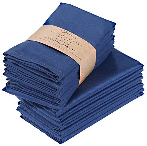 Ruvanti Kitchen Cloth Napkins 12 Pack (18' X18'),Dinner Napkins Soft & Comfortable Reusable Napkins -Durable Linen Napkins -Perfect Table Napkins/Navy Blue Napkins for Holiday Parties,Weddings &More