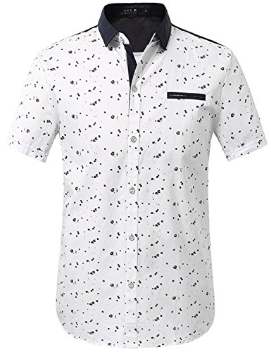 SSLR Men's Printed Button Down Casual Short Sleeve Cotton Shirts (X-Large, White)