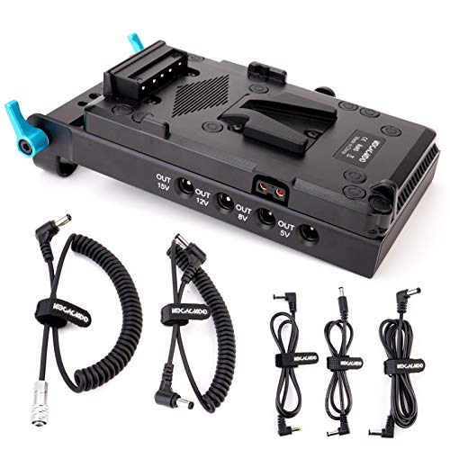 KOCACKOO V-Mount Lock Battery Plate Power Supply Splitter Adapter with 15mm Rod Clamp + BMPCC 4K and 6K Locking DC Cable for Blackmagic Pocket Cinema Camera 4K/6K.