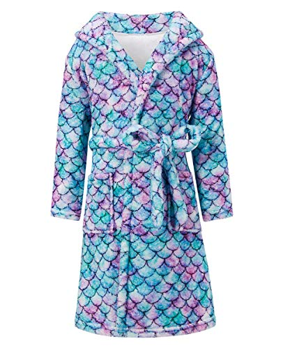 Girls Mermaid Robes Flannel Bathrobes Long Sleeve Hooded Sleepwear Waist Tie Closure Plush Cover Up Deep Front Housecoat Pajamas for Bath Pool Swim Beach Cosplay Party 7-9T