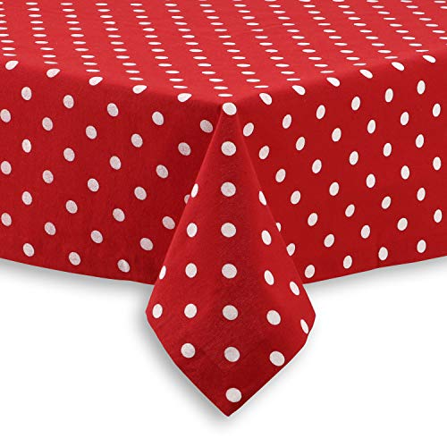 Cackleberry Home Red and White Polka Dot Fabric Tablecloth, 60 x 120 Rectangular