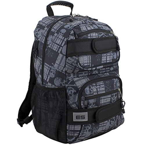 Eastsport Double Strap Skater Multipurpose Backpack, Black/Skull Plaid Print