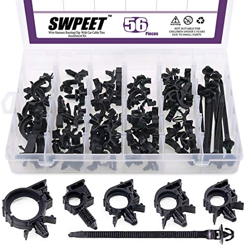 Swpeet 56Pcs Wire Harness Routing Clip Assortment with Car Cable Ties Kit, 5 Different Sizes Universal Retainer Car Clips Contains Replacement Parts for Honda GM Mazda