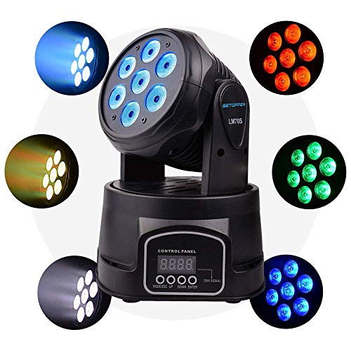 Betopper Moving Head Light, 7x8W RGBW DJ lights LED Lights Sound Active Stage Lights Wash Lights DMX 512 Strobe Lighting for Parties, Live, DJ show, Club Bar, Disco, Wedding, Bands