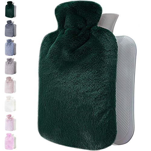 Hot Water Bottle with Soft Cover - 1.8L Large - Classic Hot Water Bag for Pain Relief, Neck and Shoulders, Feet Warmer, Menstrual Cramps, Hot and Cold Therapy - Great Gift for Women and Girls (Green)